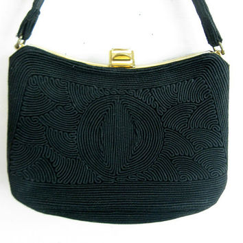Vintage 1960s Corde Purse Black 60s Normandie Handbag
