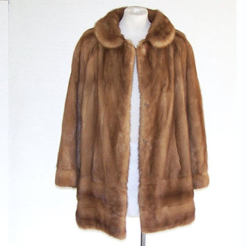 1980s Mink Fur Coat Vintage Ash Brown Stroller Jacket RESIDENTS FINE FURS L
