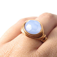 Faceted Blue Glass Wrapped Ring
