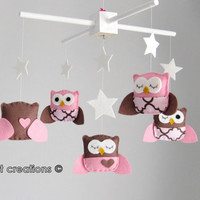 Baby Crib Mobile - Owl Mobile - Baby Girl Mobile - Pink and Brown Mobile - You can pick your colors :)
