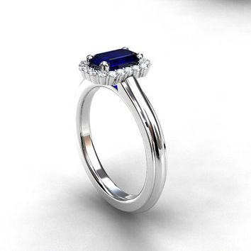 Emerald cut blue sapphire halo ring, Platinum engagement, diamond halo, blue engagement, platinum halo, unique, blue engagement, solitaire