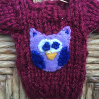 Custom-made Owl Ornament, Mini Sweater Holiday Ornament w Owl Applique, Owl Lover Gift, Bird Gift, Bird Lover, Handmade Holiday Party Favors