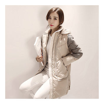 Woman Winter Thick Warm Middle Long Down Coat    beige   S