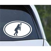 Lacrosse Field Hockey Girl Euro Oval Die Cut Vinyl Decal Sticker