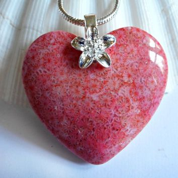 Heart, Flower Fossil Coral, Jewelry, Pendant, Necklaces for Women, elainesgems, 121806