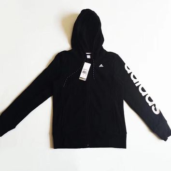 Adidas Women Zip-Up Hoodie Black Jacket