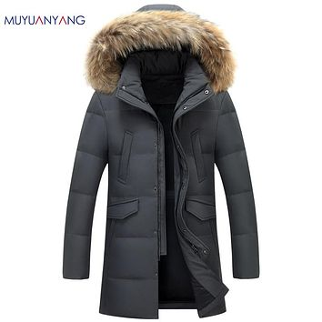 Men Casual Down Jackets Men' s Jackets Hat Detachable Winter Coat With Fur Collar Overcoat