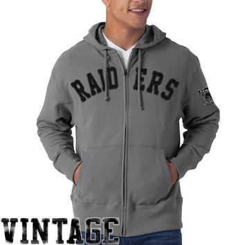 Oakland Raiders Strikers French Terry Vintage Full Zip Hoodie Sweatshirt - Gray