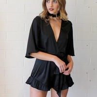 Black Satin Romper
