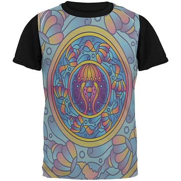 Mandala Trippy Stained Glass Jellyfish All Over Mens Black Back T Shirt