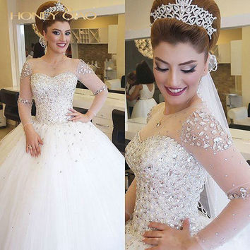 Honey Qiao Wedding Dresses 2017 Tulle Ball Gown Applique Crystal Crew Lace up Sheer Neck Illusin Sleeve Princess Bridal Gowns