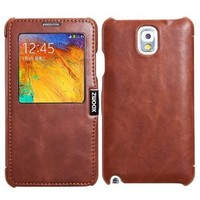 Folder Leather Flip Window Case for Galaxy Note 3 III High-grade First Layer Oil Wax Leather, Handle Delicate, 100% Handmade Durable for Samsung Note3 N9008 N9009 N9006(brown)