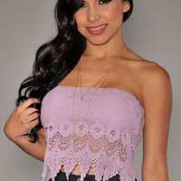 Lilac Off Shoulder Floral Lace Cropped Top
