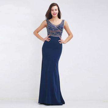 Elegant Evening Dress Mermaid Blue Long Prom Party Gowns