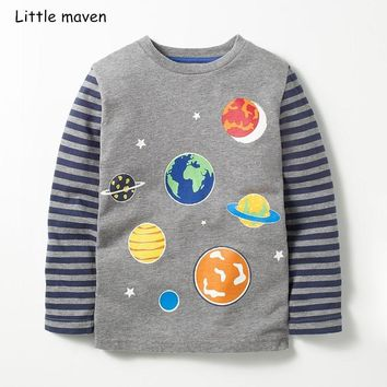 Little maven children brand baby boys clothes 2018 autumn new boys cotton long sleeve O-neck space print t shirt 51157