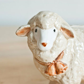 Otagiri Sheep Bank, Ceramic Lamb Coin Bank Figurine, Farmhouse Decor or Baby's Room