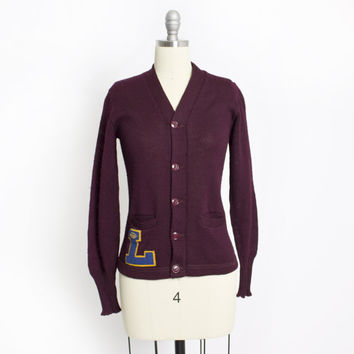 Vintage 50s Varsity Sweater - Burgundy Wool Knit Letterman Cardigan 1940s - Extra Small S