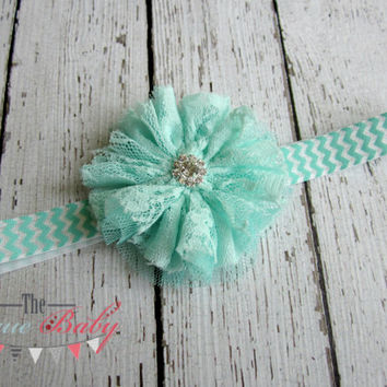 Aqua / Mint & White Chevron with Lace Flower Headband -  Photo Prop - Newborn Infant Baby Toddler Girls Adult Chiffon Lace