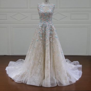Sleeveless Flowers Wedding Dresses Appliques Beaded A Line Lace Bridal Gown