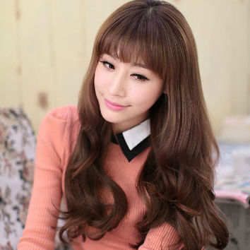 Elegant Women's Big Curly Wave Long Wig With Qi Bang Black Dark/Light Brown Synthetic Party Cosplay Hair Piece# L04019