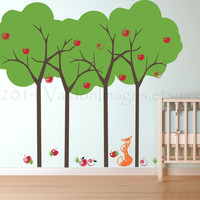 Heart filled summer apple trees and a fox wall decal, decal, wall sticker, wall graphic, vinyl decal, vinyl graphic wall decal, home decor