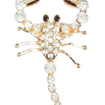 Clear Pave Crystal Stone Metal Scorpion Pin And Brooch