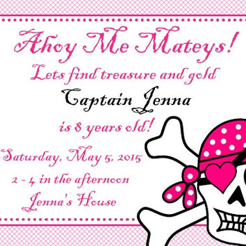 Pink Pirate Birthday Party Invitations