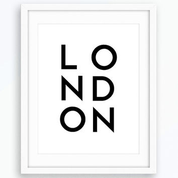 London Print, Typography Art, Minimalist Art, Wall Art, Printable Art, Modern Art, Nordic Print, Living Room Decor, Instant Download, Prints
