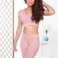 Like Fire Ribbed Leggings - Blush