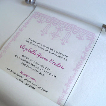 Baptism or Christening invitation scrolls, Deco edging design