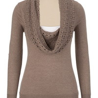 Cable Cowl Neck Sweater