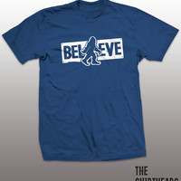 Believe Shirt - bigfoot tshirt mens womens gift, funny tee, instagram, tumblr, humor humour, sasquatch, big foot, graphic top, hunting