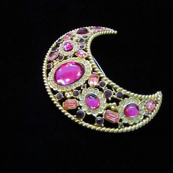 Sphinx designed  Crescent Moon Brooch with hot  pink and light rink rhinestones.  Statement piece with fantastic color.  Designer Vintage.