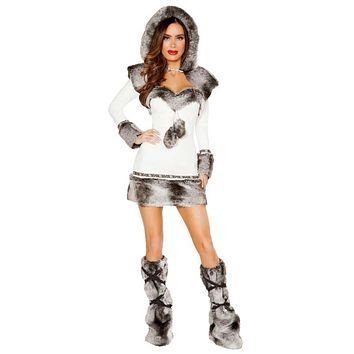 Sexy Let It Snow Eskimo Faux Fur Long Sleeve Dress with Hooded Shrug