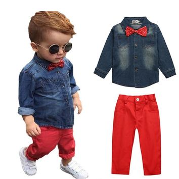Hot Sale Children Clothing Denim Shirt+Red Pants 2 Pcs Baby Boy Clothes Set Fashion Baby Kids Costume Toddler Boys Clothing