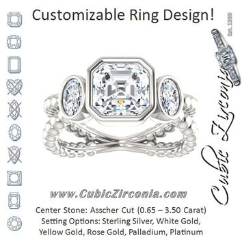 Cubic Zirconia Engagement Ring- The a Malisa (Customizable 3-sto a4a7fa5ee