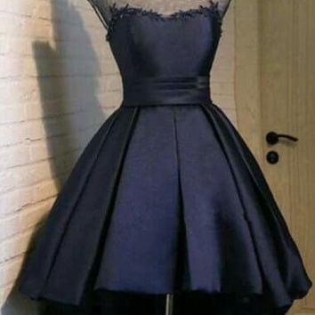 Navy Blue Homecoming Dress,  A-Line Lace Homecoming Dress , Elegant Short Party Dress