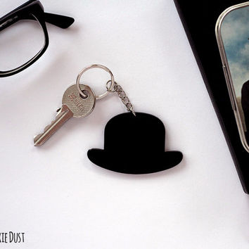 Key chain - Old Fashioned Men Hat Silhouette