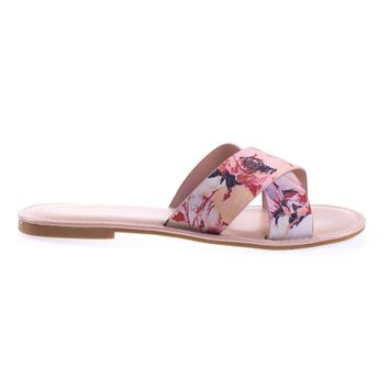 Bayside09s Blush Floral By Bamboo Floral Open Toe Flat Sandal, Slide Slipper In Solid Or Floral Prints
