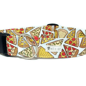 Pizza Dog Collar - Pizza - Pizza Lovers - Pepperoni Pizza - Food Dog Collar (Standard Collar, Metal Buckle, or Martingale)