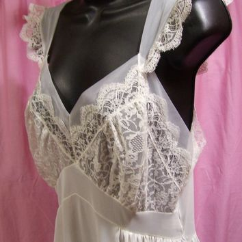 Sexy Night Gown, Long, Off White, Bridal Honeymoon, Size 36 Kayser, Size M Medium