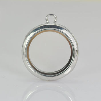 1pcs Rhodium Plated Glass Picture/ Photo Locket Frame Pendant , Photo Box Charms Pendant, (Fits 25mm on inside)
