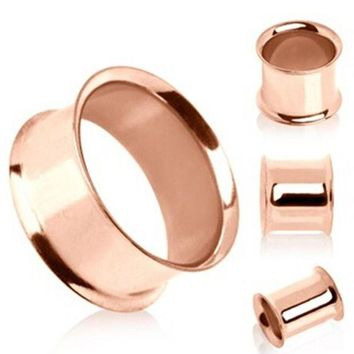 ac DCCKO2Q 1 pair Stainless steel anodized rose gold double flare flesh tunnel ear plug gauges ear expander