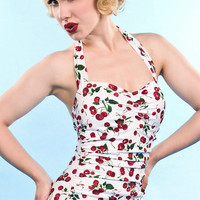 Cherry Print Vintage Retro One Piece Swimsuit