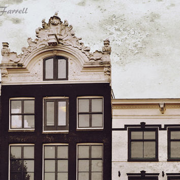 Architecture Art, Amsterdam Photography, Europe House Print, Urban Art, Brown, Cream White - Roof Light