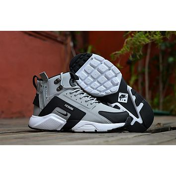Huarache X Acronym City Mid Leather Gray black Sneaker Shoes  f548b2bdf