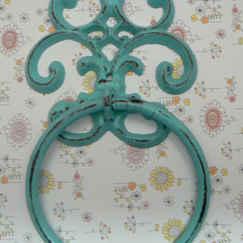 Fleur de lis Cast Iron Light Beach Blue FDL Wall Small Hand Towel Ring Nautical Bathroom Kitchen Decor Paris Shabby Chic Cottage Distressed