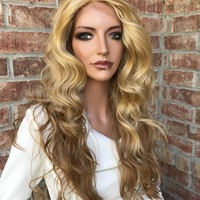 Jessa Light Blond Waves Human Hair Blend Multi Parting Lace Front Wig 18""