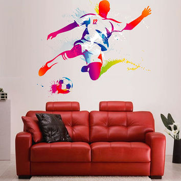 kcik120 Full Color Wall decal soccer football ball sport spray paint room Bedroom sports hall