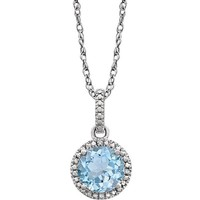 "Sterling Silver Sky Blue Topaz & .01 CTW Diamond 18"" Halo-Style Necklace"